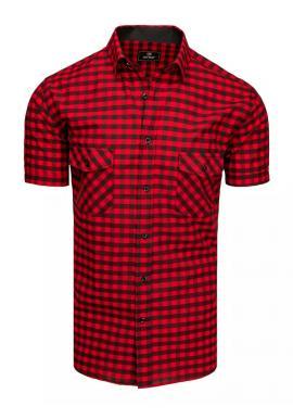 Čierno-červená kockovaná košeľa s krátkym rukávom pre pánov