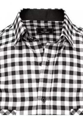 Pánska kockovaná košeľa s krátkym rukávom v čierno-bielej farbe