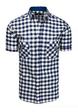 Modro-biela kockovaná košeľa s krátkym rukávom pre pánov