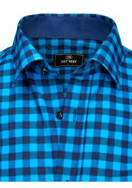 Kockovaná pánska košeľa modrej farby s krátkym rukávom