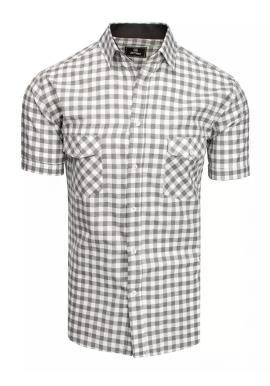 Sivo-biela kockovaná košeľa s krátkym rukávom pre pánov