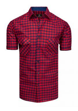 Kockované pánske košele modro-červenej farby s krátkym rukávom