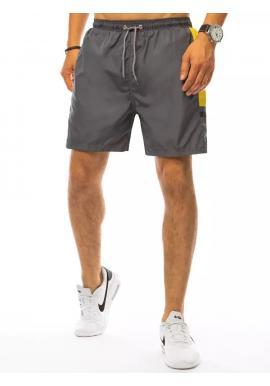 Tmavosivé kúpacie šortky s kontrastnými vložkami pre pánov