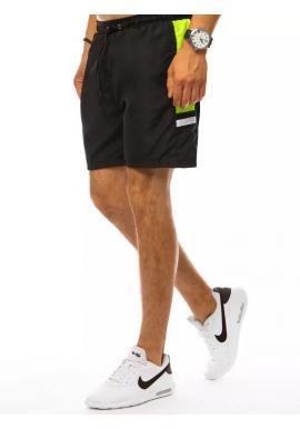 Kúpacie pánske šortky čiernej farby s kontrastnými vložkami