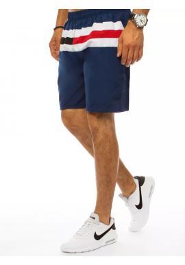 Pánske plavecké šortky s kontrastnými pruhmi v tmavomodrej farbe