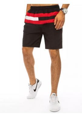 Čierne plavecké šortky s kontrastnými pruhmi pre pánov