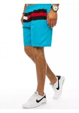 Plavecké pánske šortky svetlomodrej farby s kontrastnými pruhmi
