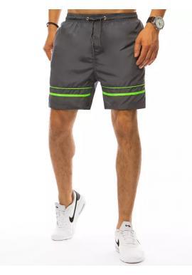 Tmavosivé kúpacie šortky s kontrastnými pruhmi pre pánov