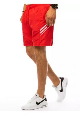 Plavecké pánske šortky červenej farby s kontrastnými prvkami