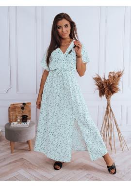 Mätové voľné kvetované šaty s viazaním pre dámy