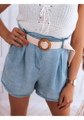Modré módne kraťasy s vysokým pásom pre dámy