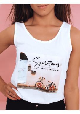 Bavlnené dámske tričko bielej farby s potlačou