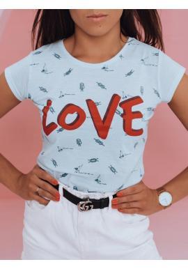 Klasické dámske tričko svetlomodrej farby s potlačou