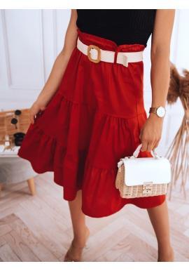 Midi dámska sukňa červenej farby s pleteným opaskom