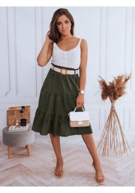 Zelená midi sukňa s pleteným opaskom pre dámy
