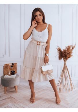 Dámska midi sukňa s pleteným opaskom v béžovej farbe