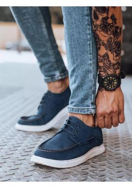 Pánske módne mokasíny v tmavomodrej farbe