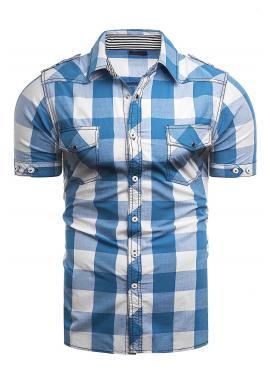 Pánska kockovaná košeľa s krátkym rukávom v svetlomodrej farbe