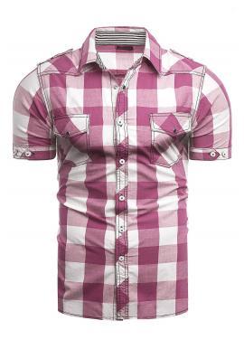 Svetloružová kockovaná košeľa s krátkym rukávom pre pánov