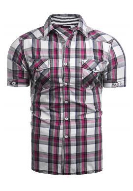 Károvaná pánska košeľa tmavoružovej farby s krátkym rukávom