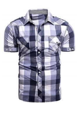 Pánska kockovaná košeľa s krátkym rukávom vo fialovej farbe