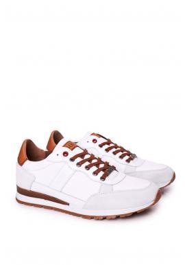 Pánske módne tenisky s protišmykovou podrážkou v bielej farbe