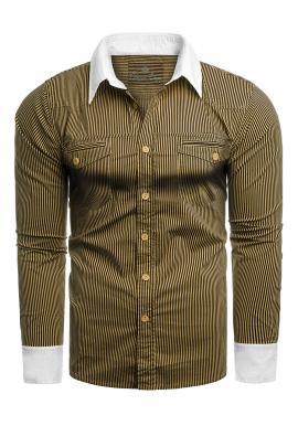 Ťavia pásikavá košeľa s vreckami na hrudi pre pánov