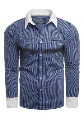 Pásikavá pánska košeľa modrej farby s vreckami na hrudi