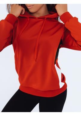 Športová dámska mikina červenej farby s kapucňou