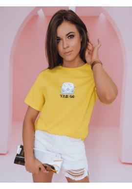 Dámske klasické tričko s potlačou v žltej farbe