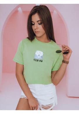 Klasické dámske tričko svetlozelenej farby s potlačou