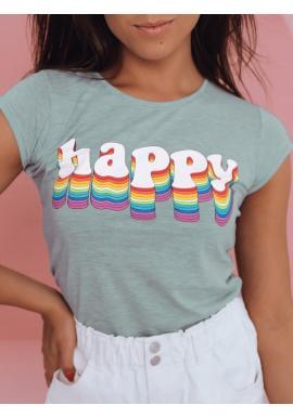 Bavlnené dámske tričko mätovej farby s potlačou