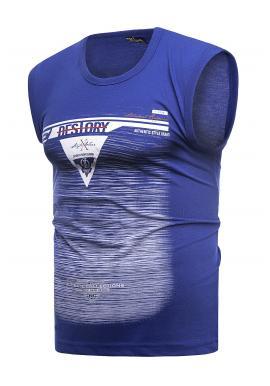 Bavlnené pánske tričko modrej farby s potlačou