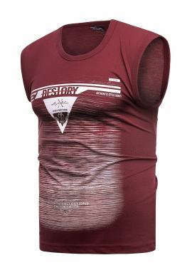 Pánske bavlnené tričko s potlačou v bordovej farbe