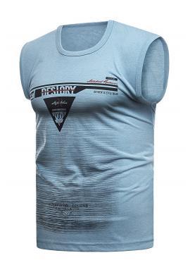 Pánske bavlnené tričko s potlačou v svetlomodrej farbe