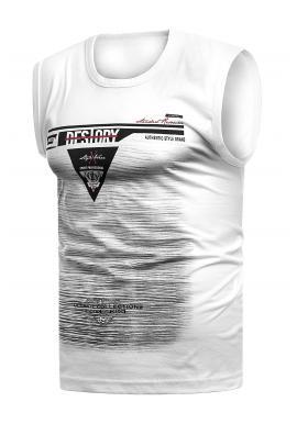 Bavlnené pánske tričko bielej farby s potlačou
