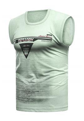 Pánske bavlnené tričko s potlačou v pistáciovej farbe