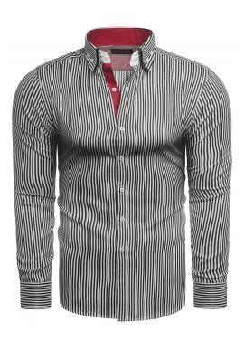 Čierno-biela pásikavá košeľa s dlhým rukávom pre pánov