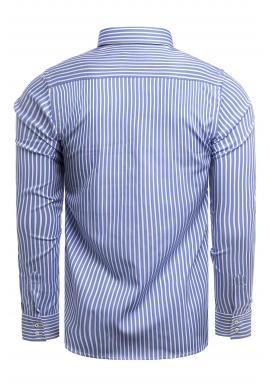 Pánske pásikavé košele s dlhým rukávom v modro-bielej farbe
