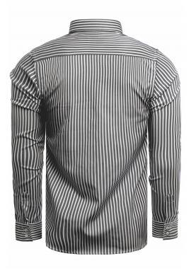 Pásikavá pánska košeľa čierno-bielej farby s dlhým rukávom