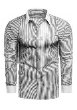 Pánska pásikavá košeľa s dlhým rukávom v bielej farbe