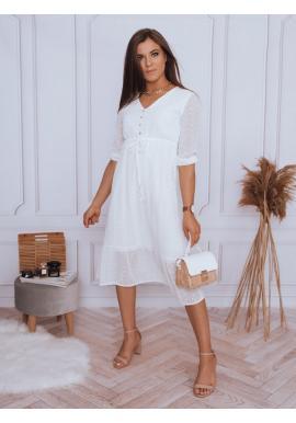 Módne dámske šaty bielej farby s volánom