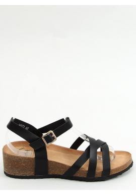 Čierne pohodlné sandále s korkovou platformou pre dámy