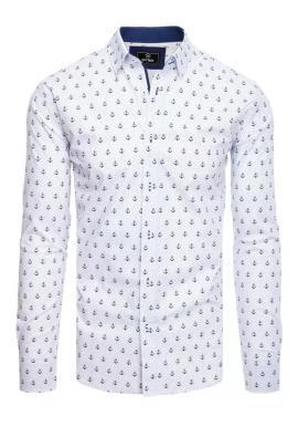 Biela vzorovaná košeľa s kotvami pre pánov