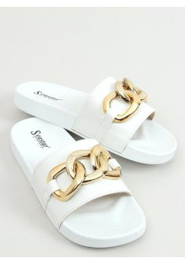 Biele módne šľapky so zlatou retiazkou pre dámy