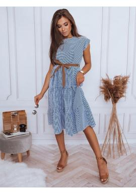 Dámske kockované šaty s viazaním v páse v modro-bielej farbe