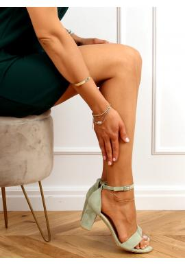 Dámske semišové sandále na stabilnom podpätku v zelenej farbe