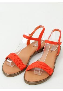Dámske semišové sandále s plochou podrážkou v oranžovej farbe