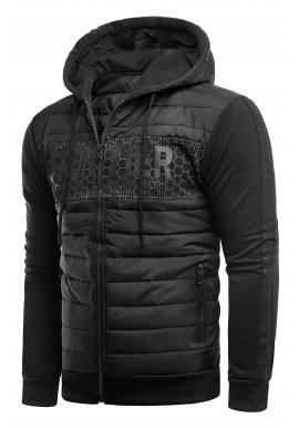 Pánska jesenná bunda s kapucňou v čiernej farbe