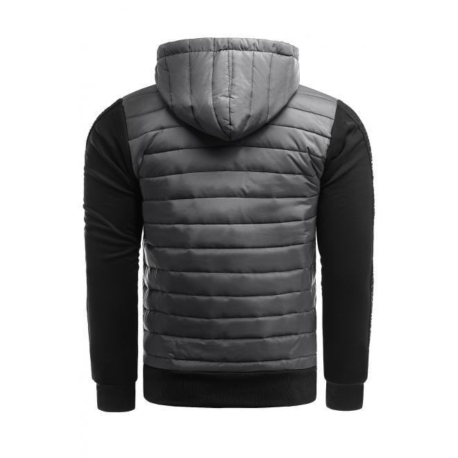 Jesenná pánska bunda tmavosivej farby s kapucňou